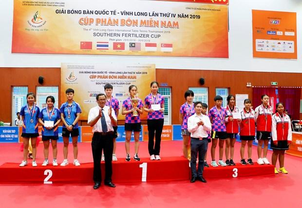 第四届越南永隆国际乒乓球锦标赛: 中国广西一队夺得团体夺冠 hinh anh 2