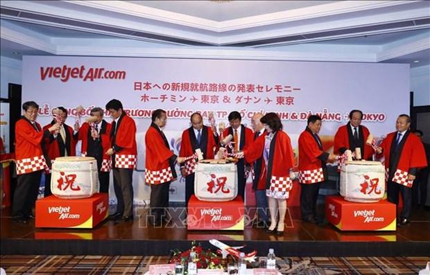 阮春福出席越南飞往日本两条直达航线开通仪式 hinh anh 1