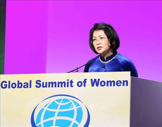 越南国家副主席邓氏玉盛率团出席第 29 届全球妇女峰会 hinh anh 1