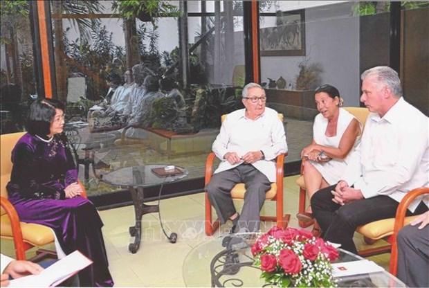 越南国家副主席邓氏玉盛会见古巴领导人 hinh anh 1