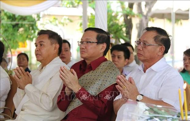 越南驻老挝大使馆代表团出席苏发努冯主席诞辰110周年纪念典礼 hinh anh 2