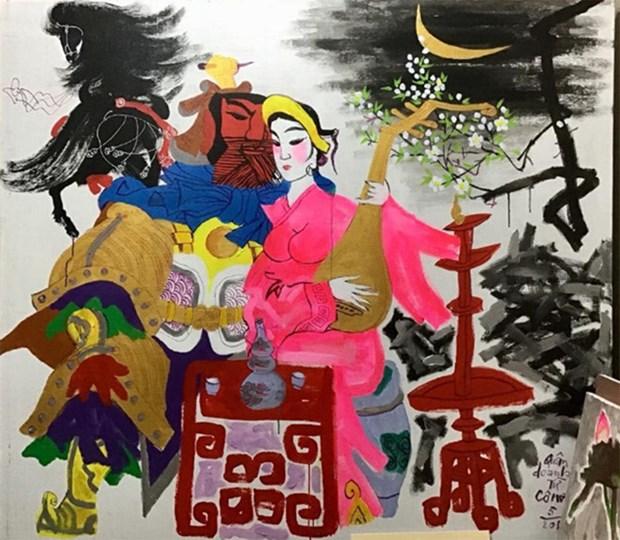 越南两名资深画家的画展亮相河内 hinh anh 1