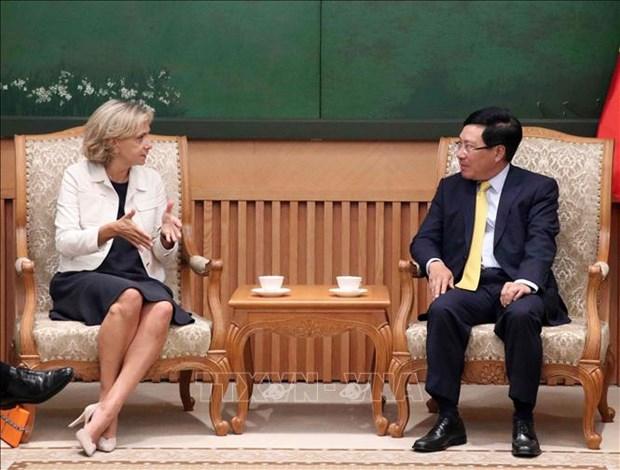 越南政府副总理兼外交部长范平明会见法兰西岛大区议会主席佩克雷斯 hinh anh 1