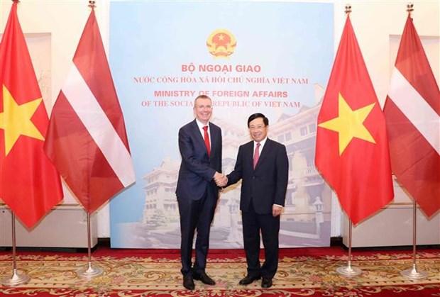越南政府副总理兼外长范平明与拉脱维亚外长林克维奇斯举行会谈 hinh anh 1