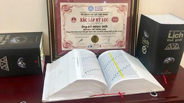 《世界日历3240年》一书获页数最多书籍越南纪录证书 hinh anh 1
