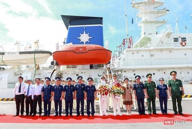日本海上警卫队小岛级训练舰抵达岘港国际港 hinh anh 1