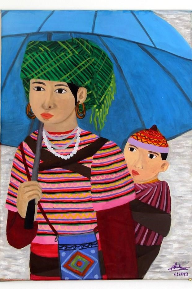 """越南一位听障画家的作品""""母亲与孩子""""在意大利展示 hinh anh 1"""