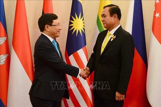 范平明等东盟国家外长礼节性拜会泰国总理巴育 hinh anh 2
