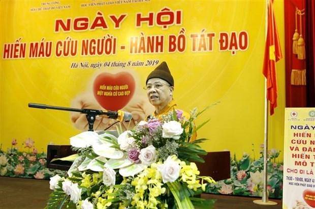 500名僧尼和佛教信徒参加献血活动 150名登记捐赠人体器官 hinh anh 2