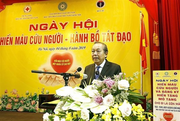500名僧尼和佛教信徒参加献血活动 150名登记捐赠人体器官 hinh anh 3