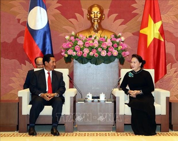 越南国会主席阮氏金银会见老挝国会副主席本邦∙布达纳冯 hinh anh 2