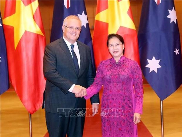 越南国会主席阮氏金银会见澳大利亚总理斯科特•莫里森 hinh anh 1