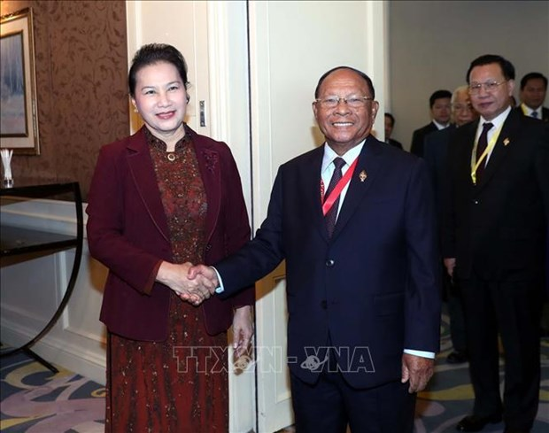 阮氏金银会见柬埔寨国会主席韩桑林 hinh anh 1