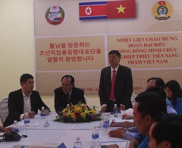 朝鲜职业同盟代表团访问越南河南省工会基础设施项目 hinh anh 1