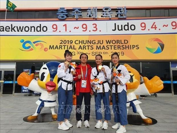 越南跆拳道运动员在韩国忠州世界武艺大赛夺得金牌 hinh anh 1