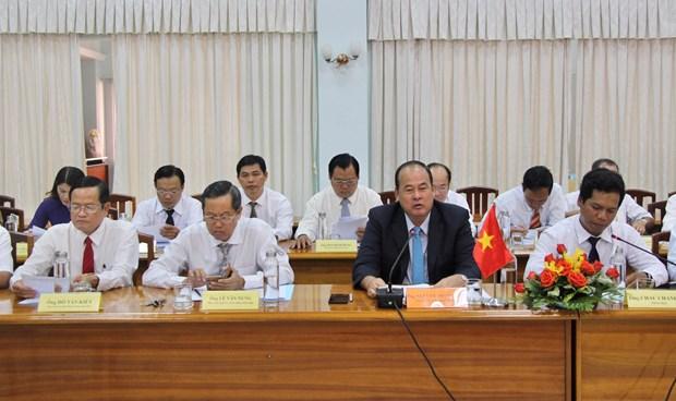 越南安江省和柬埔寨甘丹省促进边贸往来 hinh anh 1