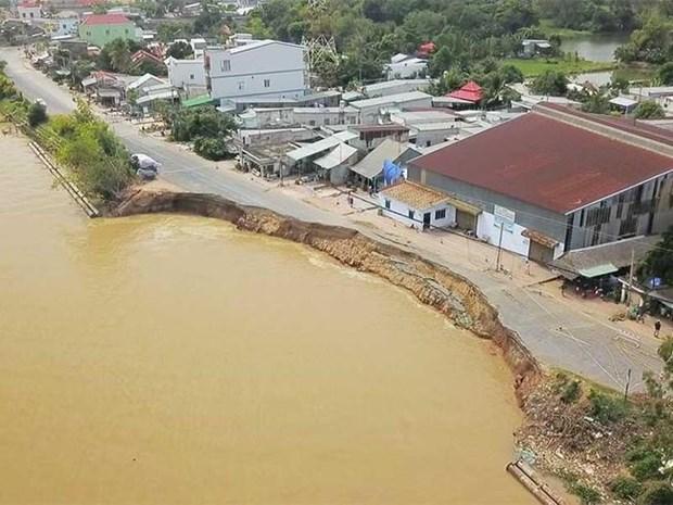 越南政府总理要求检查九龙江平原干旱和江岸坍塌情况 hinh anh 1