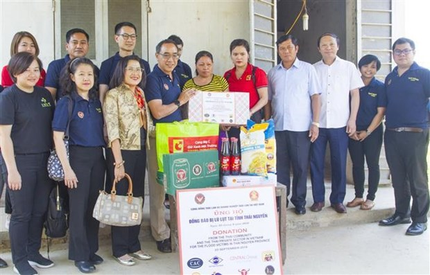 泰国驻越南大使馆向太原省洪水灾民提供援助 hinh anh 2