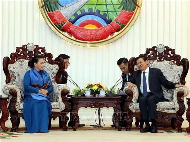 阮氏金银主席会见老挝总理通论·西苏里 hinh anh 1