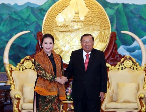 越南国会主席阮氏金银会见老挝人民革命党中央总书记、国家主席本扬 hinh anh 2