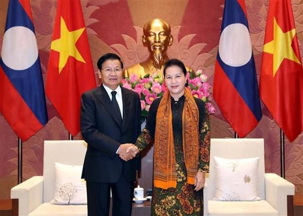 越南国会主席阮氏金银会见老挝政府总理通伦·西苏里 hinh anh 1