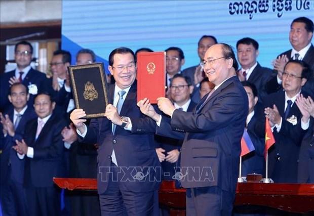 越南与柬埔寨发表联合声明 hinh anh 1