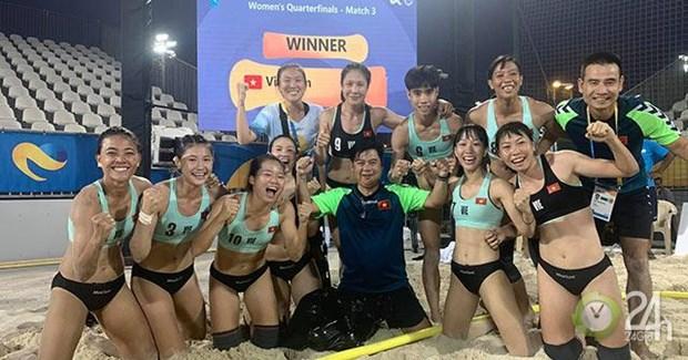 越南晋级2019年世界沙滩运动会女子手球半决赛 hinh anh 1