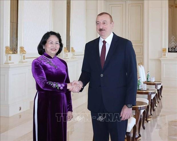 越南国家副主席邓氏玉盛会见阿塞拜疆总统阿利耶夫 hinh anh 1