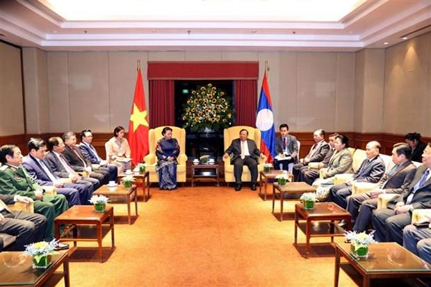 越南国会主席阮氏金银会见老挝人民革命党总书记、国家主席本扬 hinh anh 2