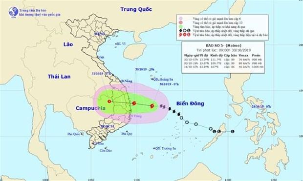 越南2019年第五号台风或变强 在广义至庆和省登陆 hinh anh 1