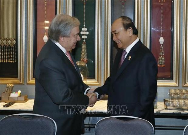 第35届东盟峰会:越南政府总理阮春福会见联合国秘书长古特雷斯 hinh anh 1