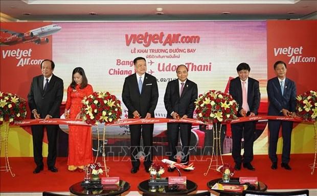 第35届东盟峰会:阮春福总理出席泰国-越南新航线开通仪式 hinh anh 1