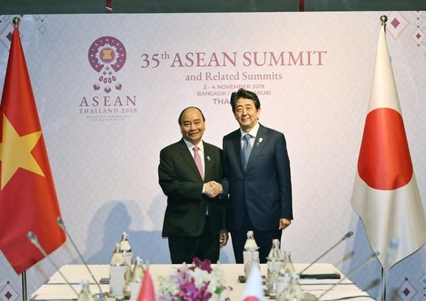 阮春福会见日本首相安倍晋三 结束赴泰出席第35届东盟峰会和相关会议之行 hinh anh 1