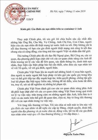 越南政府总理阮春福向英国货车藏尸案39名遇难者家属表示深切哀悼 hinh anh 1