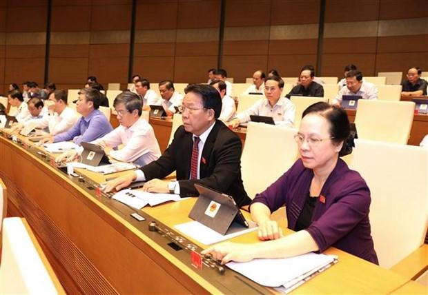 越南第十四届国会第八次会议:表决通过一项决议 讨论两部法案 hinh anh 1