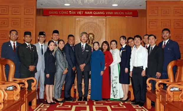 胡志明市领导会见东南亚与日本青年船计划代表团 hinh anh 2