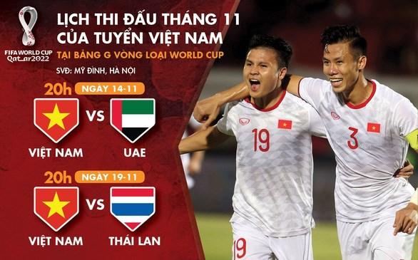 2022年世界杯预选赛越南队11月份赛程表 hinh anh 1