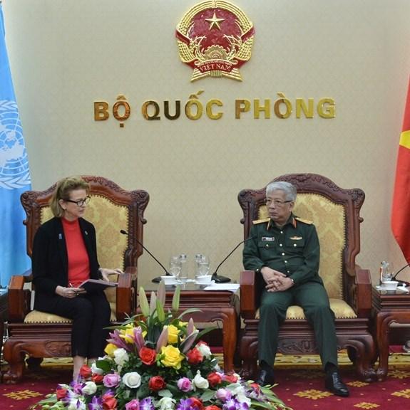 越南国防部副部长阮志咏会见联合国开发署驻越代表 hinh anh 1