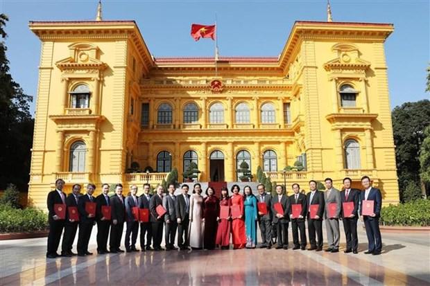 国家副主席邓氏玉盛向新任驻外的16位大使颁发任命书 hinh anh 1