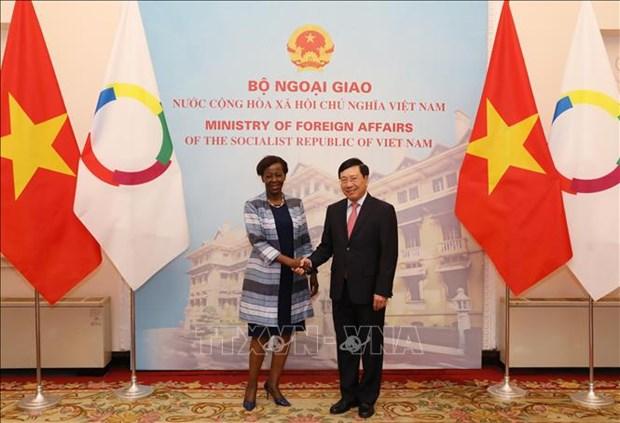 越南政府副总理兼外长范平明与法语国家组织秘书长会谈 hinh anh 1