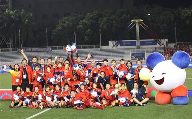 第30届东南亚运动会:越南妇女联合会向摘下金牌的越南女队足发奖金 hinh anh 1