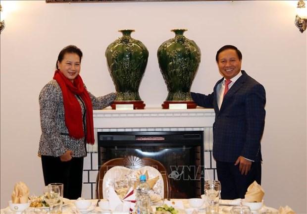 越南国会主席阮氏金银造访越南驻俄罗斯大使馆 hinh anh 1