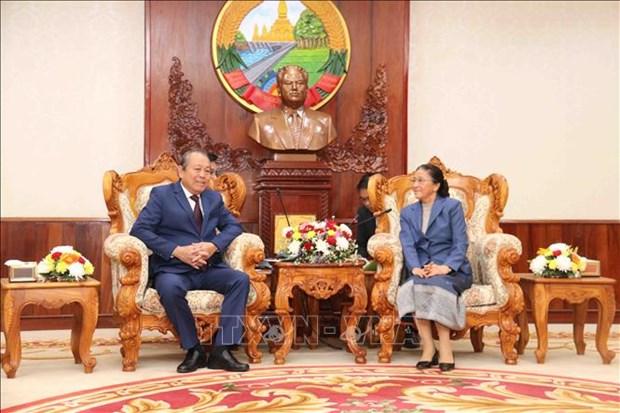 张和平副总理访问老挝 与老挝副总理会谈 hinh anh 1