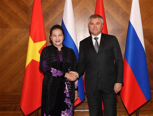 越南国会主席阮氏金银与俄罗斯国家杜马主席沃洛金举行会谈 hinh anh 1