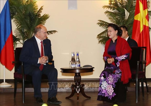 越南国会主席阮氏金银会见俄罗斯共产党领导人 hinh anh 1