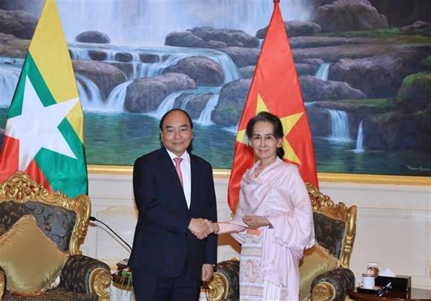 越南政府总理阮春福与缅甸国务资政昂山素季举行会谈 hinh anh 2