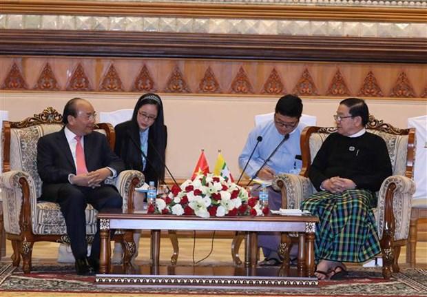 政府总理阮春福会见缅甸联邦议会议长吴帝昆秒 hinh anh 1