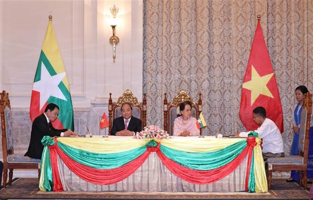 越南政府总理阮春福与缅甸国务资政昂山素季举行会谈 hinh anh 3