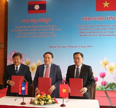越南广治省与老挝二省合作做好边境地区自由移民管理工作 hinh anh 1