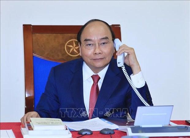 阮春福总理与俄总理梅德韦杰夫通电话 hinh anh 1